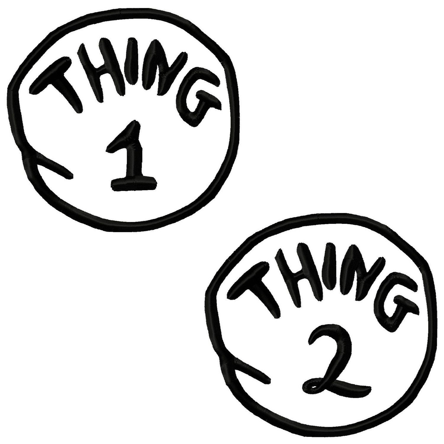 Thing 1 and 2 Applique Machine Embroidery Design 3x3 4x4 5x7.