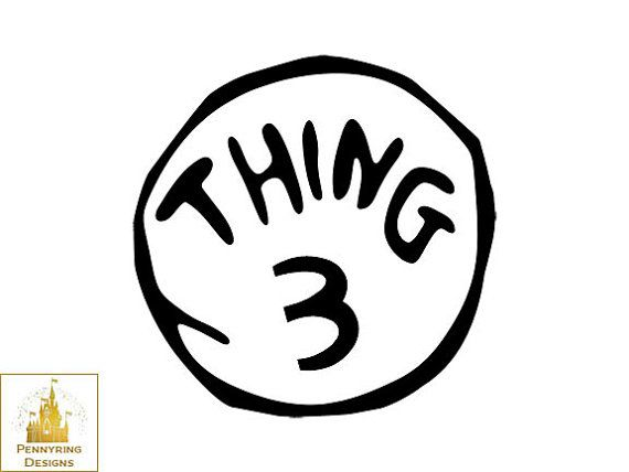 Dr Suess Thing 1 And Thing 2 Thing 3 Logo T Shirt Decal Custom.