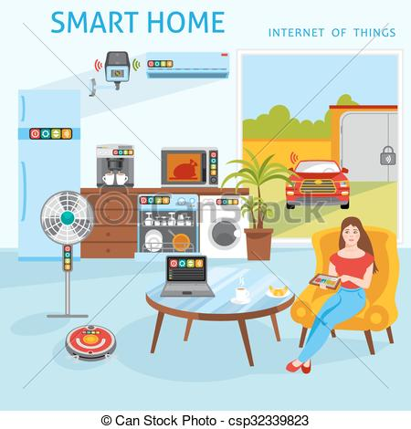 Vector Illustration of Internet of things smart home concept.