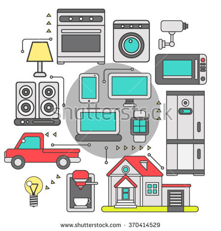 Internet Things Iot Home Household Appliances Stock Vector.