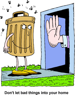 Image: Extended Hand Preventing a Trash Can From Entering a Home.