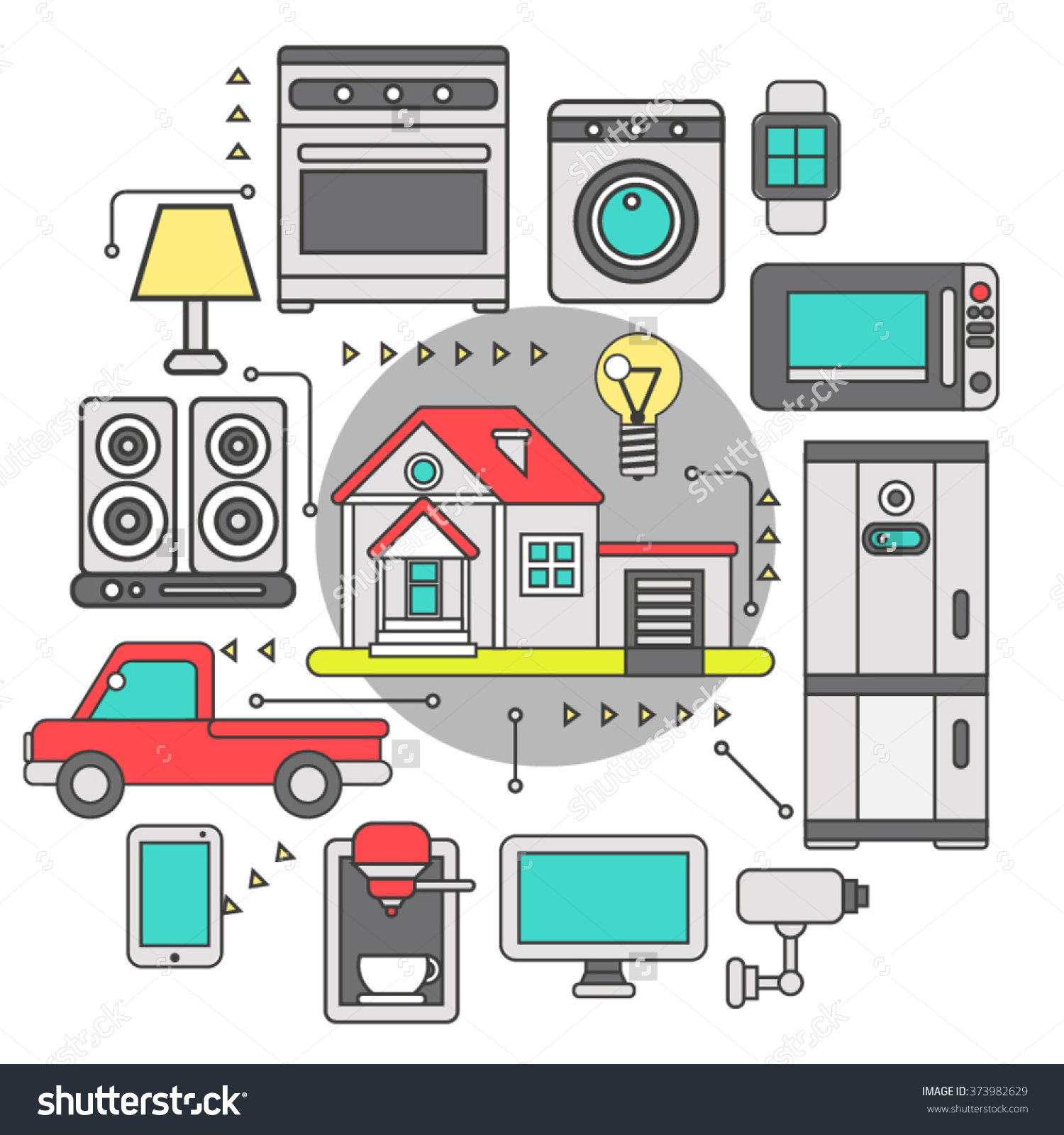 Smart Home Iot Internet Things Control Stock Vector 373982629.