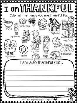 I Am Thankful FREE Writing About Gratitude.