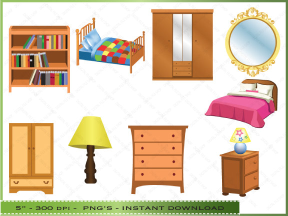 Bedroom Items Clipart.