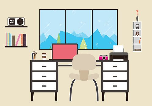 desk with computer and other things, vector Clipart Image.