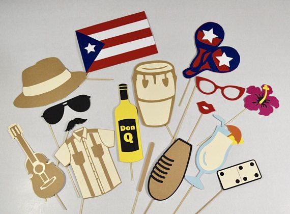 Puerto Rico photo booth props 16 pc in 2019.