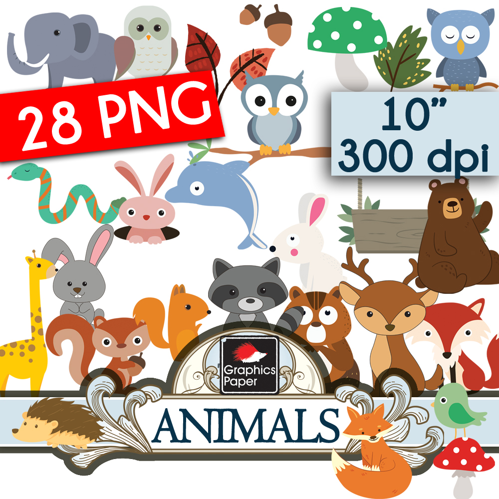 28 Animals Clipart Pack png.