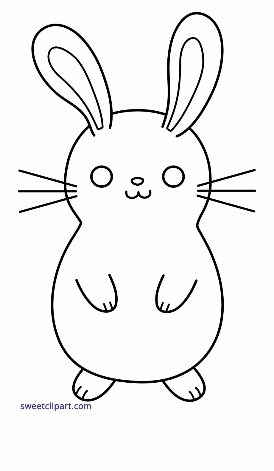 Stock Bunny Rabbit Cute Lineart Black White Clipart.