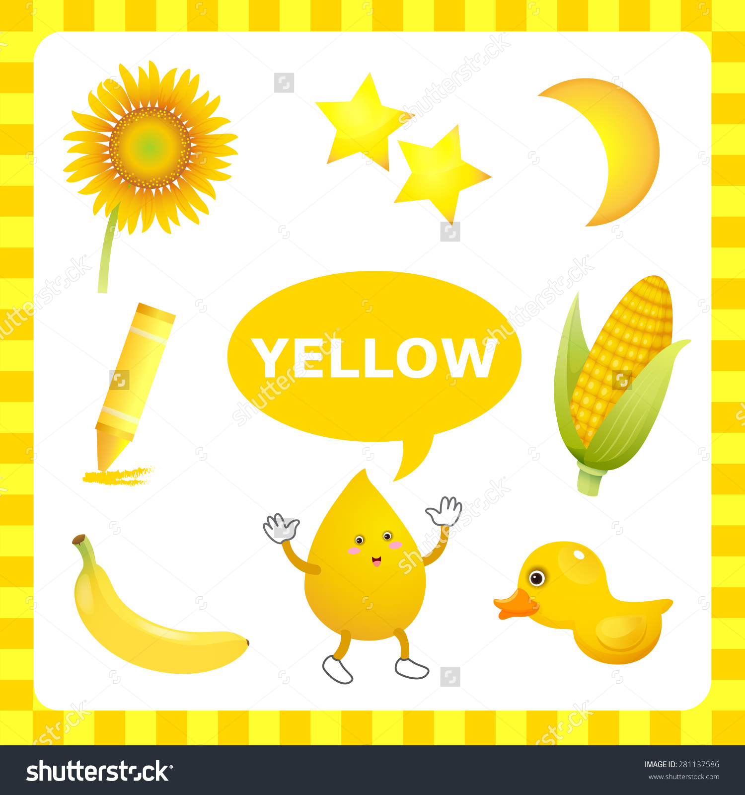 Learn Color Yellow Things That Yellow Stock Vector 281137586.