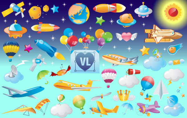 Vector Icons of Flying Objects clip arts, clip art.