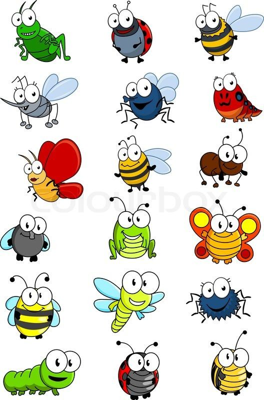Cartooned insects set with bee, wasp, hornet, caterpilllar.