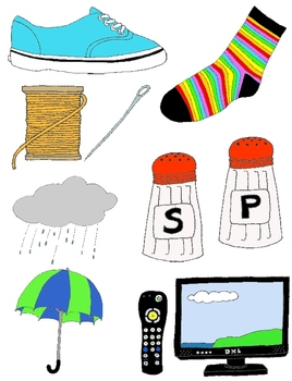 They Go Together Clip Art: 20 Matching Pairs in Color and Line Art.