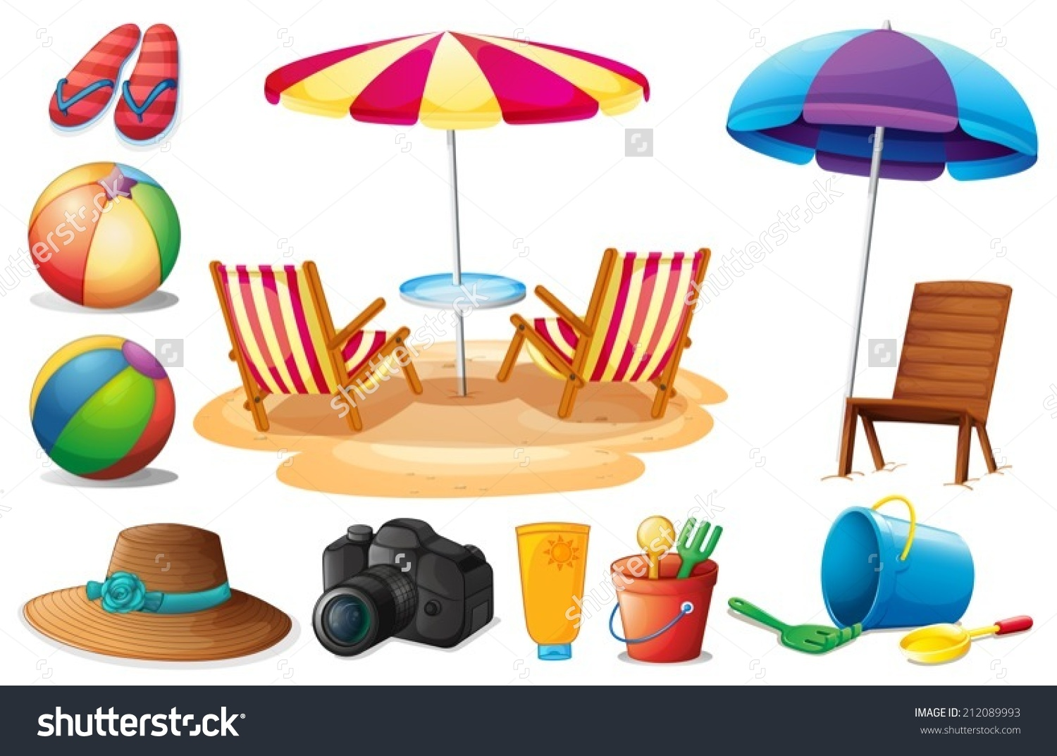 Illustration Things Found Beach During Summer Stock Vector.