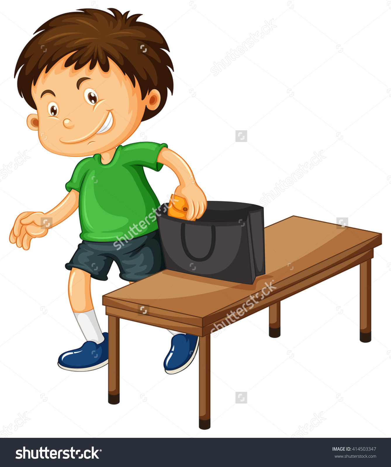 Boy Stealing Things Purse Illustration Stock Vector 414503347.