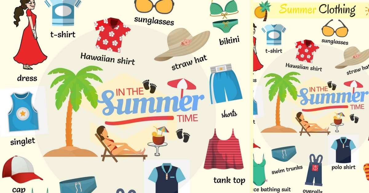 Summer Clothes and Accessories Names with Pictures.
