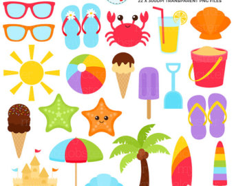 Things Used In Summer Season Clipart.