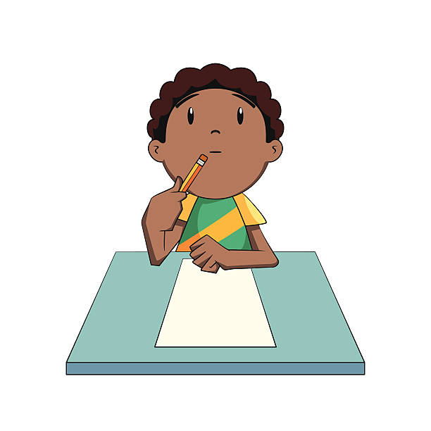 Child thinking boy clipart thinking pencil and in color boy.