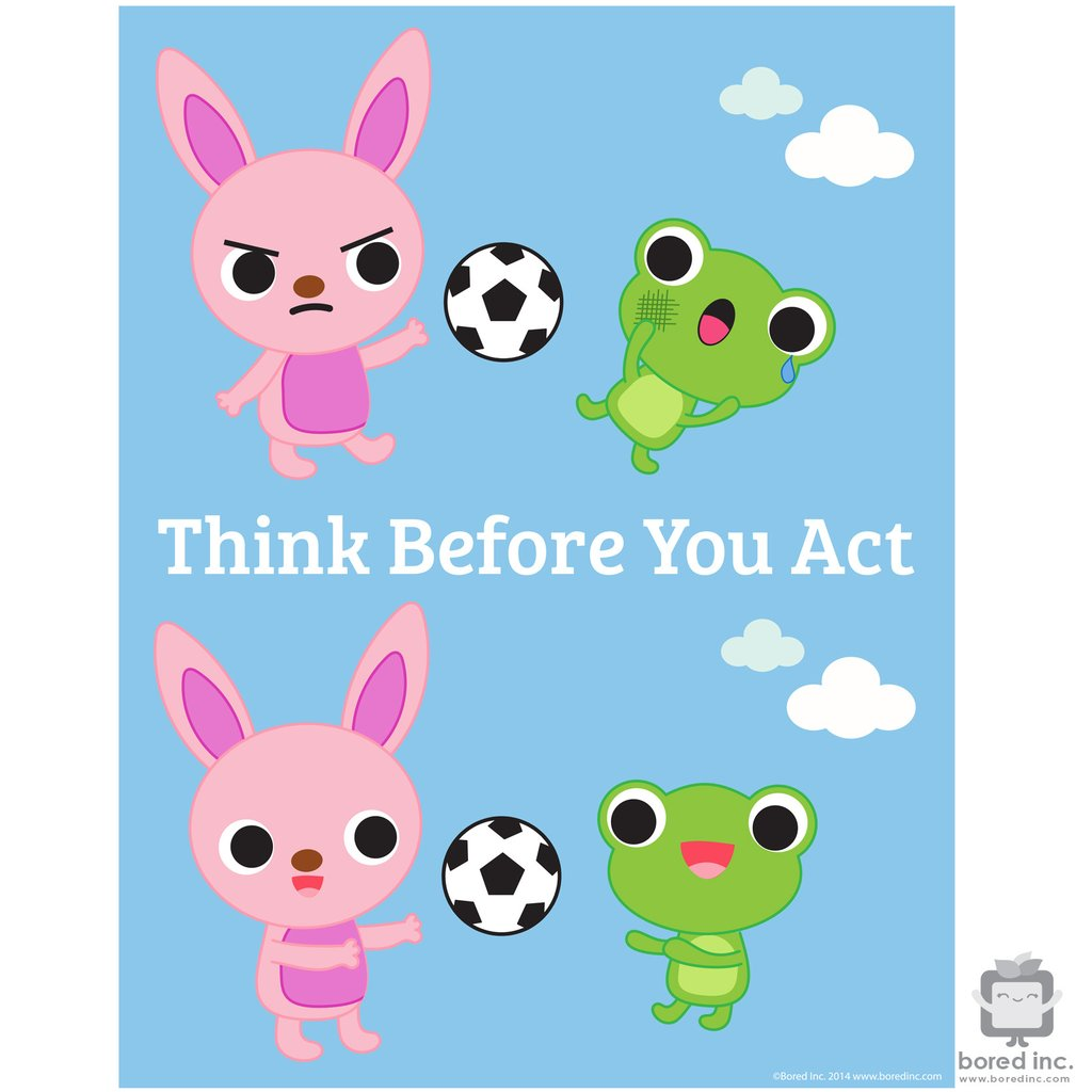 Think Before You Act Clipart.