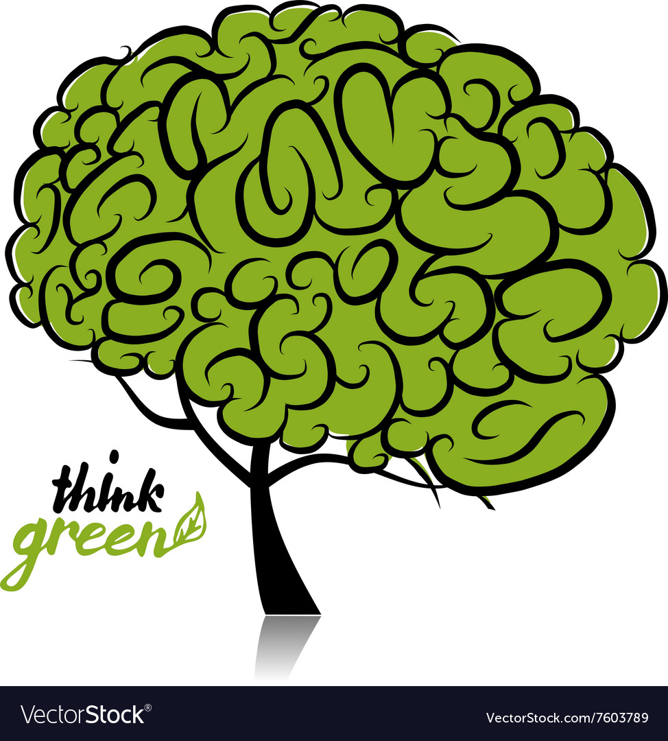 Think green Brain tree concept for your design.