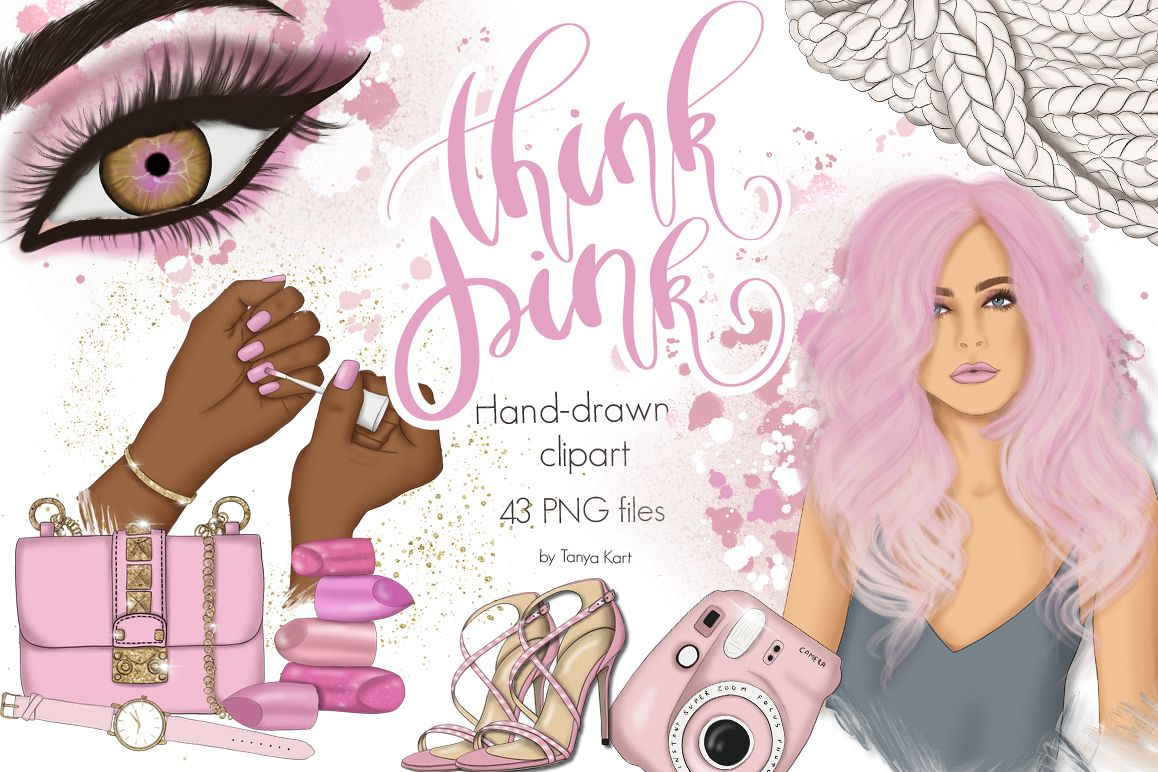 Think Pink Clipart & Patterns.
