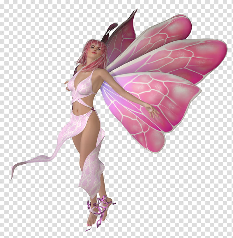 Think Pink Fairies, pink fairy illustration transparent.