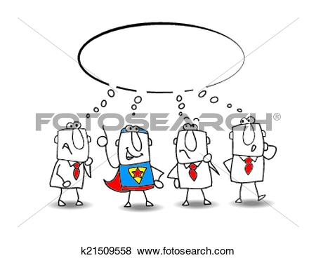 Clip Art of think tank with a superhero k21509558.