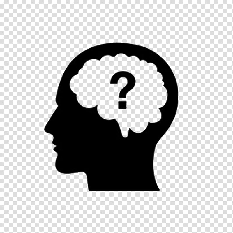 Thought Question Brain Icon, Thinking person, human head and.