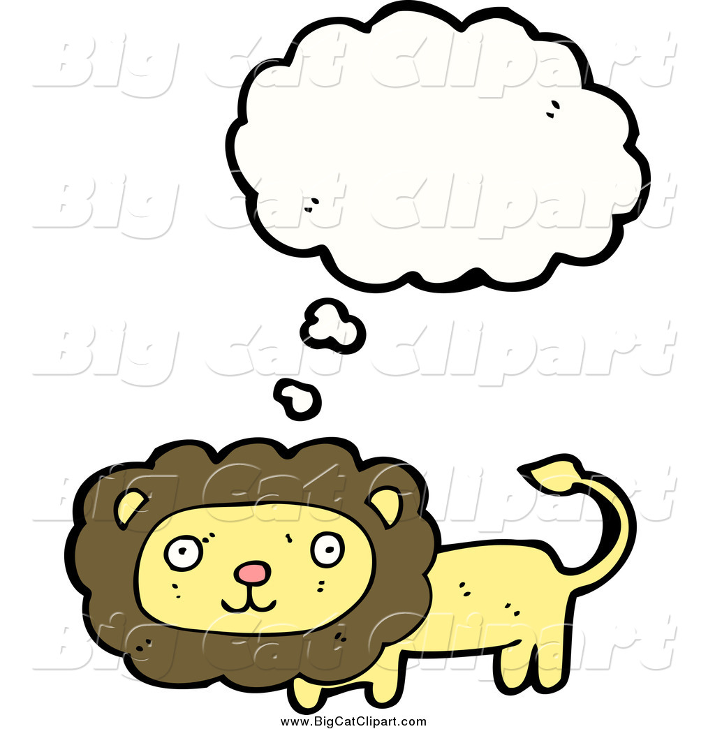 Big Cat Cartoon Vector Clipart of a Thinking Yellow Lion by.