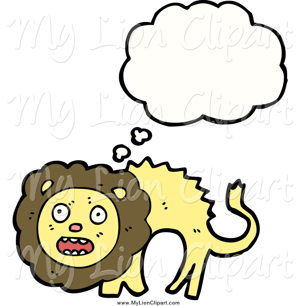 Clipart of a Thinking Surprised Lion by lineartestpilot.