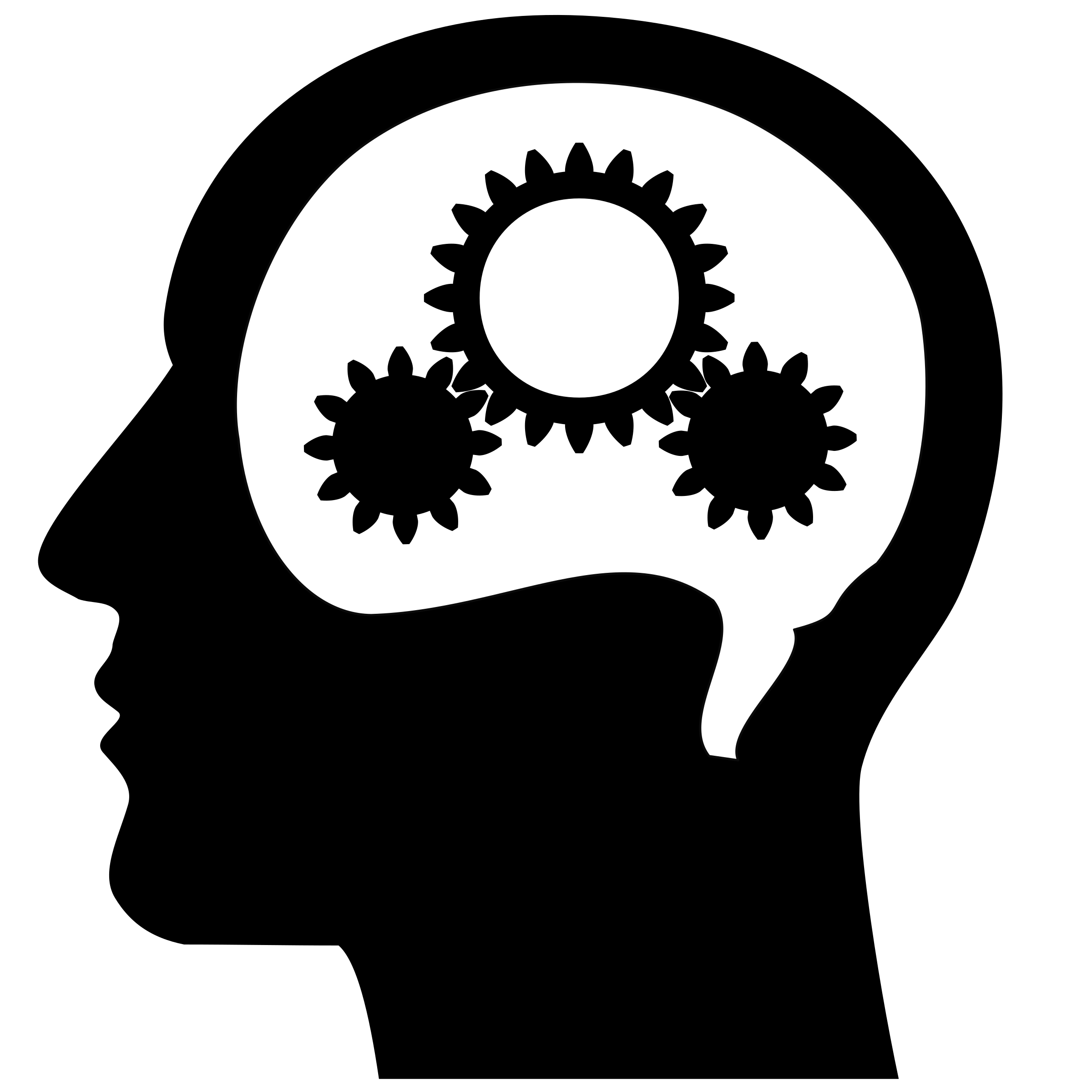 Thinking brain machine vector clipart image.