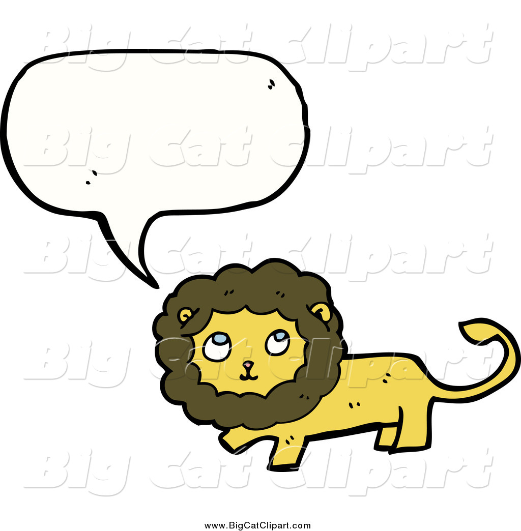 Big Cat Cartoon Vector Clipart of a Talking Thinking Lion by.