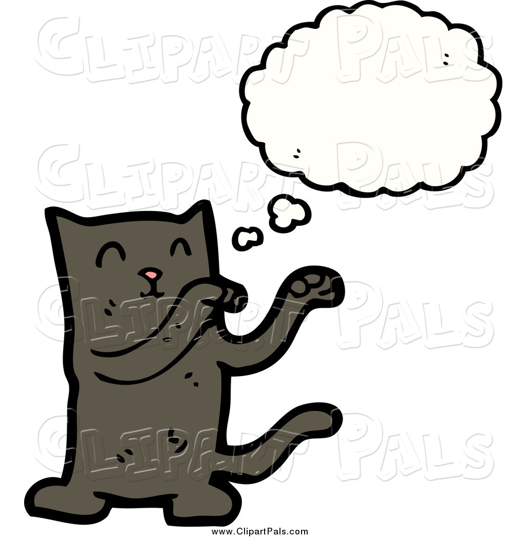 Thinking Cat Clipart.