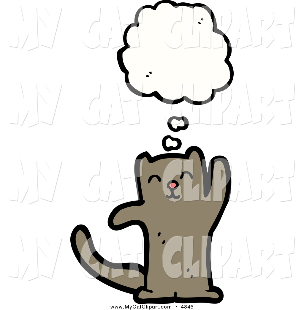 Clip Art of a Thinking Brown Cat by lineartestpilot.