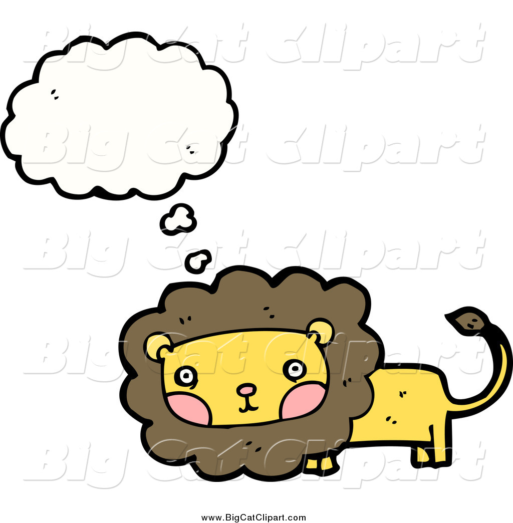 Big Cat Cartoon Vector Clipart of a Thinking and Blushing Male.