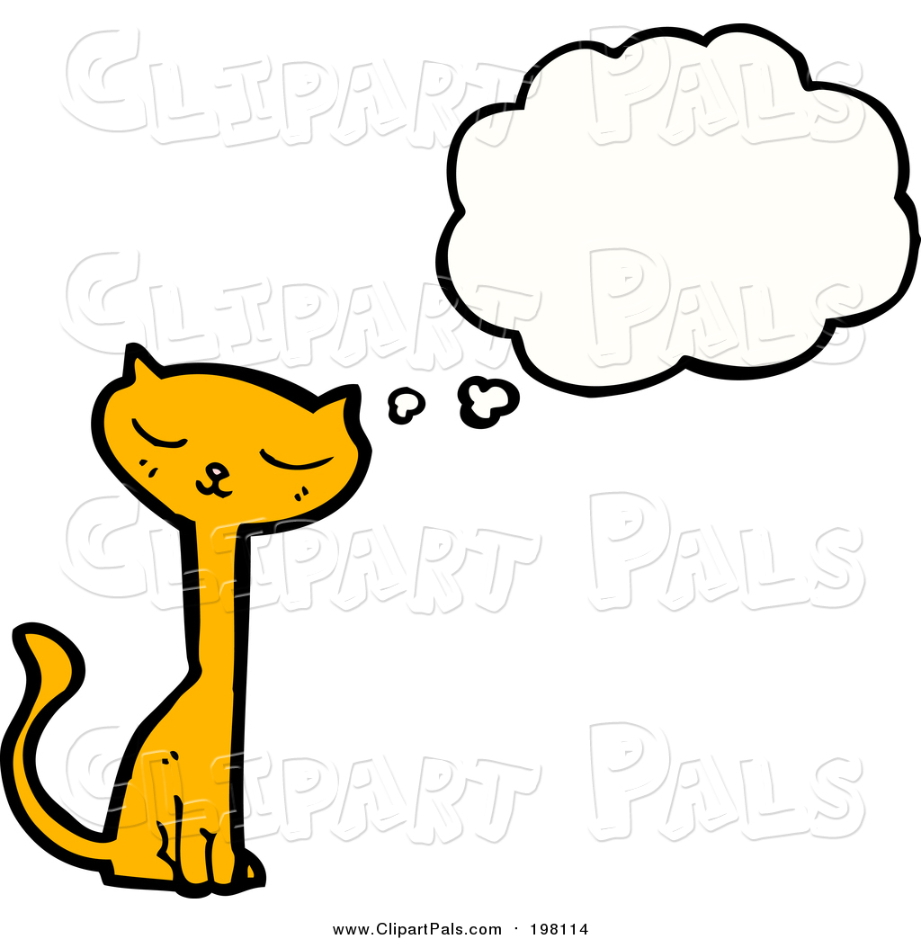 Pal Clipart of a Thinking Ginger Cat by lineartestpilot.