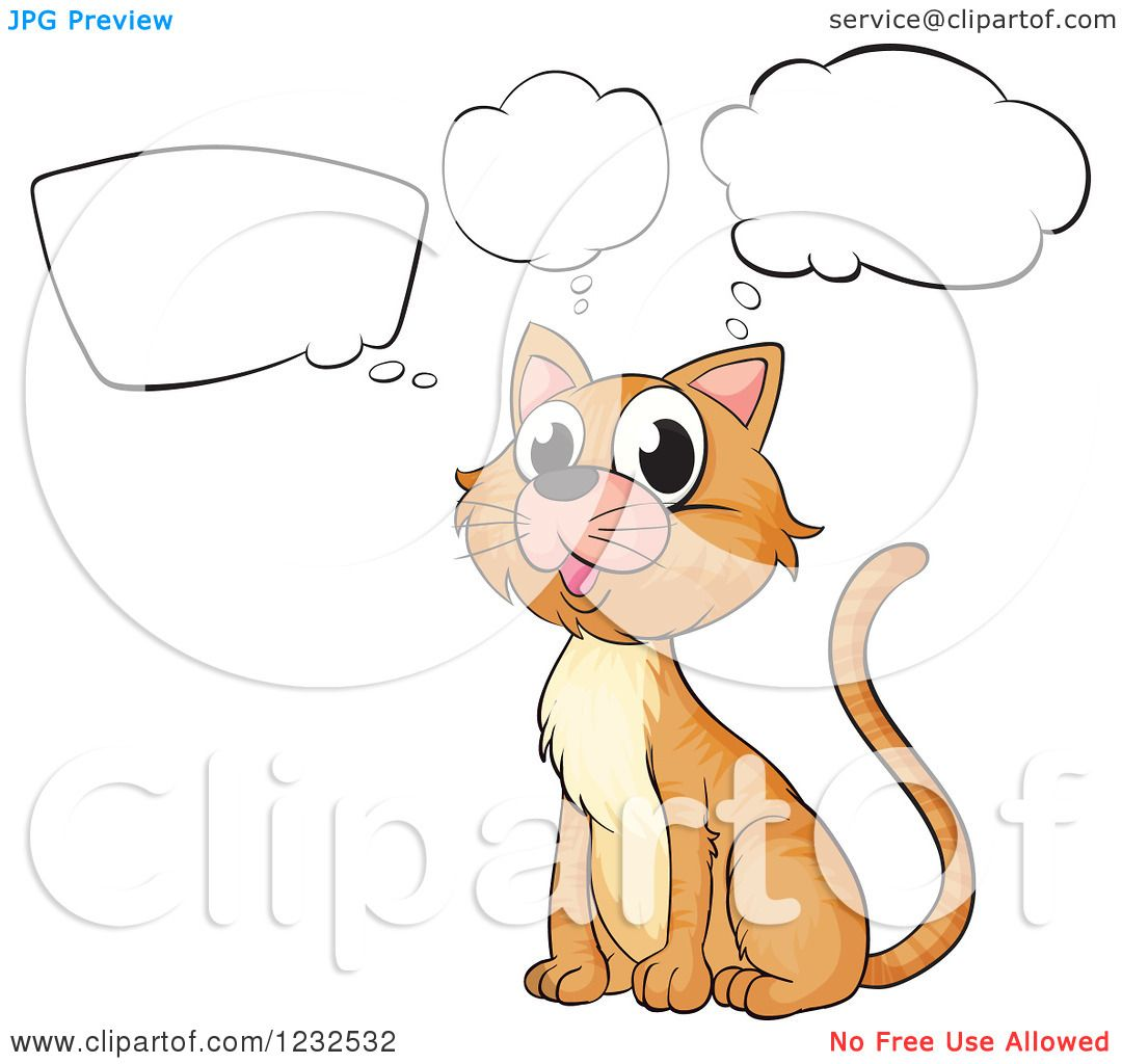 Clipart of a Thinking Cat.