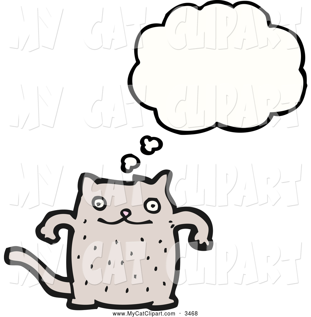 Clip Art of a Thinking Happy Cat by lineartestpilot.