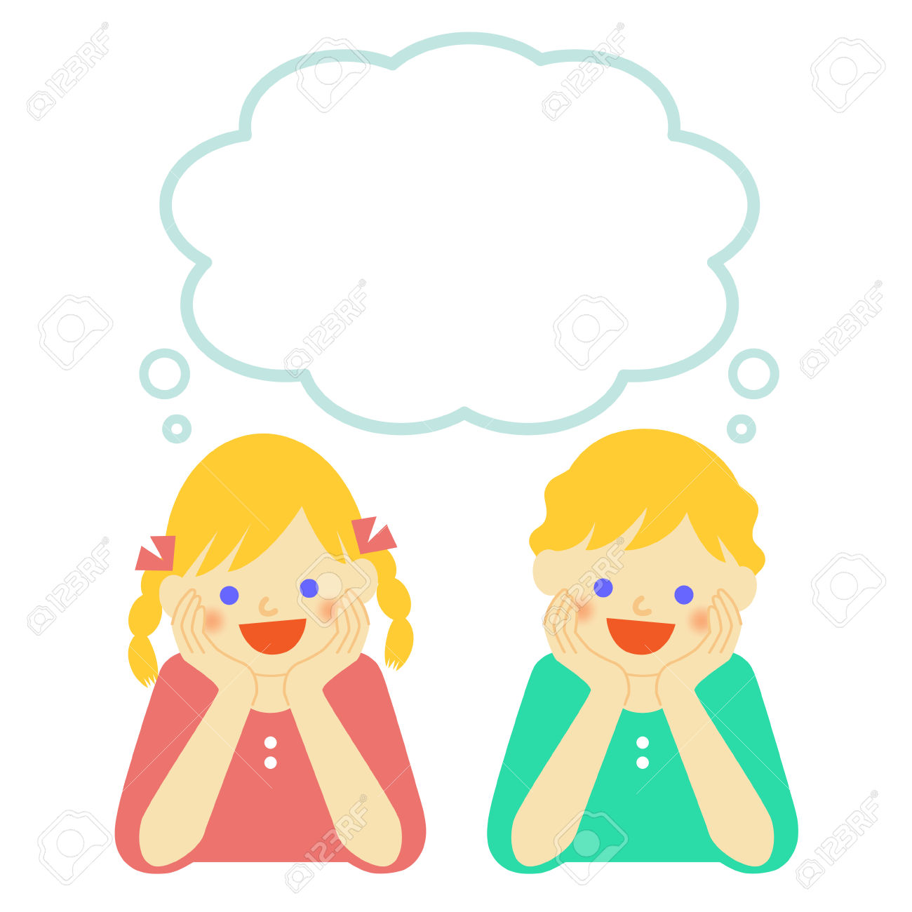 Boy And Girl Thinking Clipart.