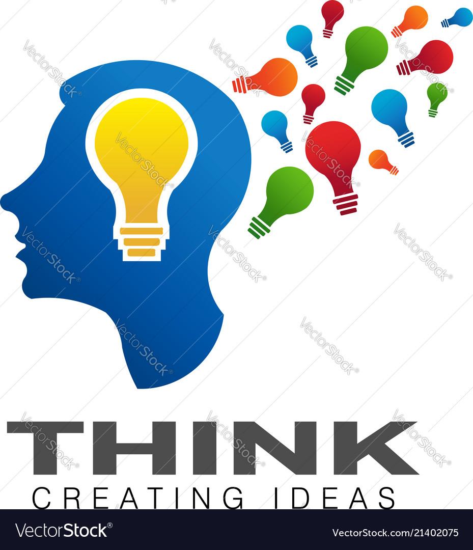 Thinking brain creative imagination logo.