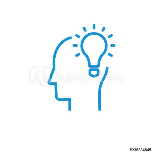 Idea and imagination. Brain, light bulb, human head.