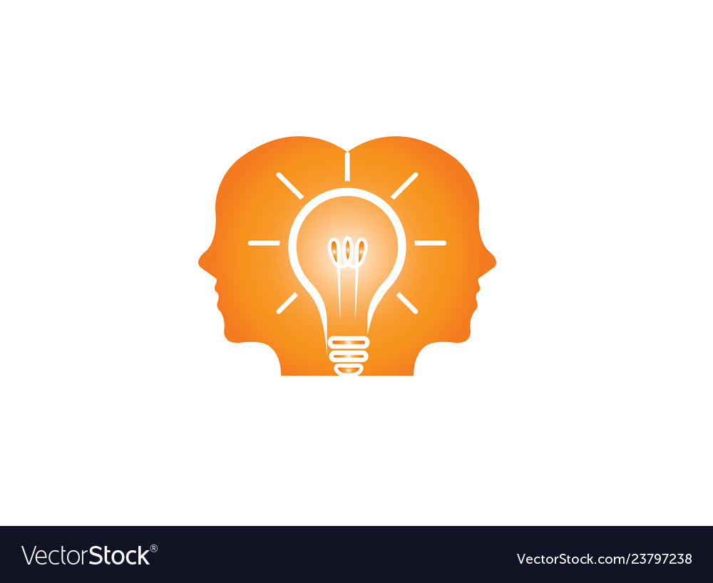 Heads of two men thinking smart for idea for logo.