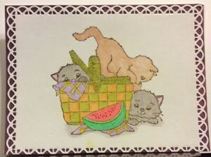 Details about Handmade Picnic Basket Kitty Birthday Get Well Thinking Of  You Greeting Card.