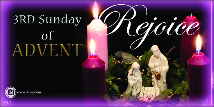 Third Sunday of Advent Candles. #Catholic #Clipart.