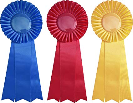 First, Second, and Third Place Prize Ribbon Set.