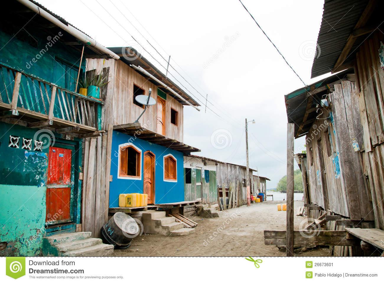 Third World Neighborhood Colorful Houses Stock Photos, Images.