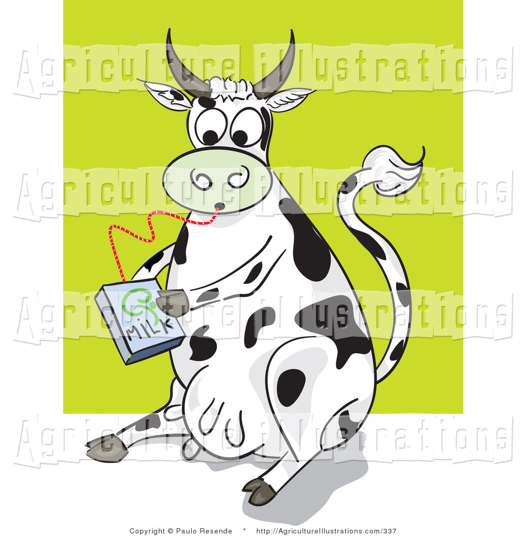 Agriculture Clipart of a Thirsty Black and White Dairy Cow.