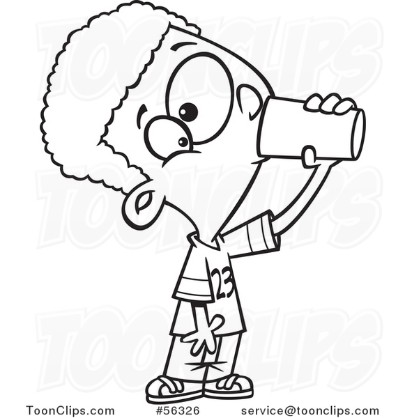 Cartoon Thirsty Outline Black Boy Drinking from a Cup #56326.