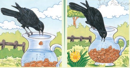 THE THIRSTY CROW One hot day, a thirsty crow flew.