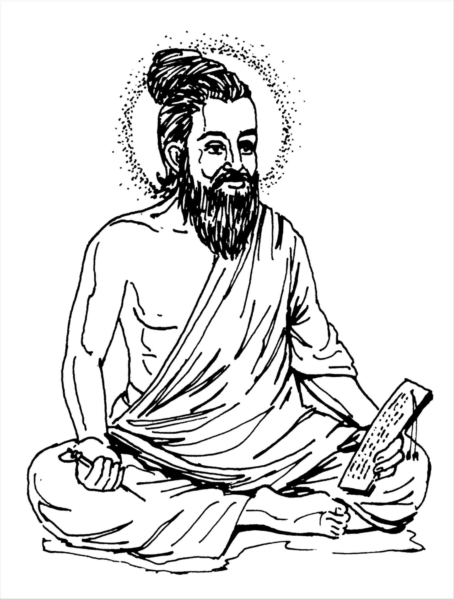 how to draw thiruvalluvar face.