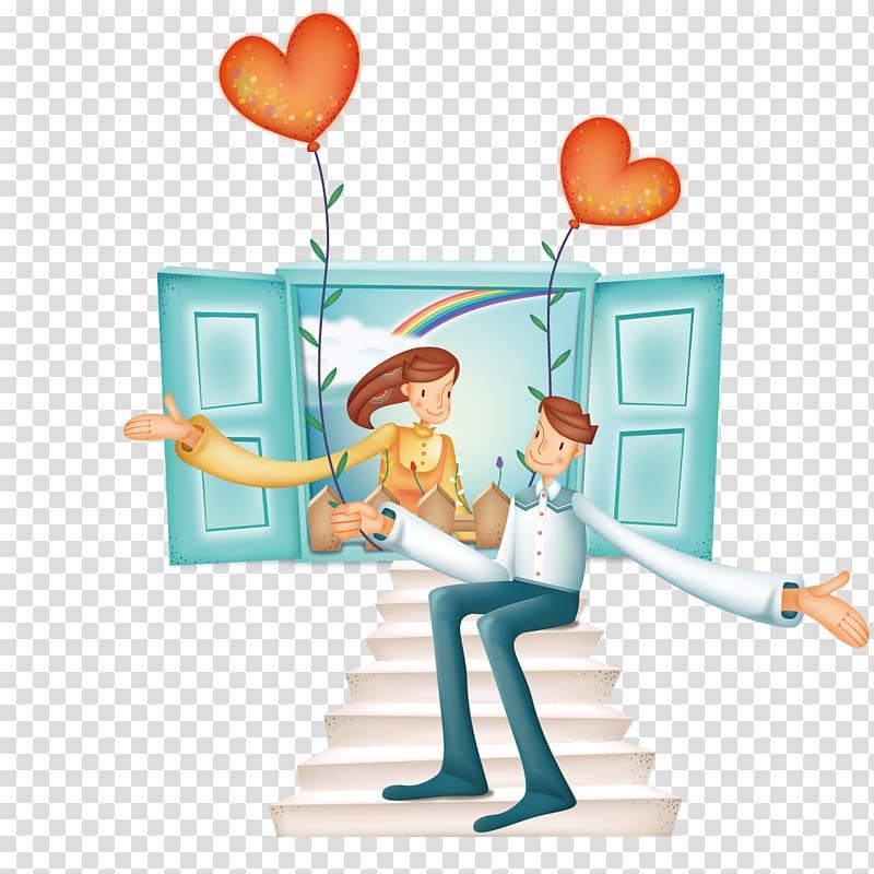Love Romance Valentines Day Cartoon , Marry a man sitting on.